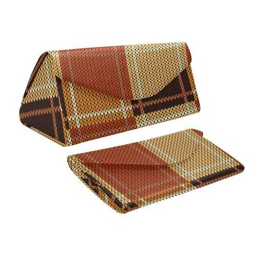 Brown Checker Style Foldable Glasses Case