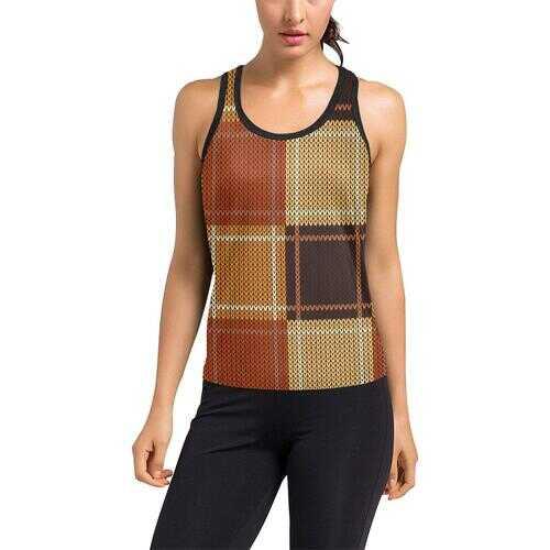 Womens Sportswear, Brown Checker Style Racerback Tank Top