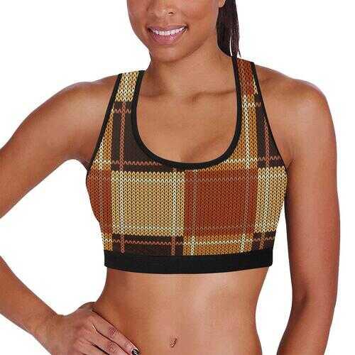 Womens Sportswear, Brown Checker Style Sports Bra