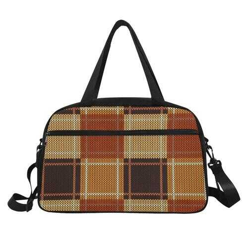 Fitness Bags, Brown and Beige Checker Style Multipurpose Bag