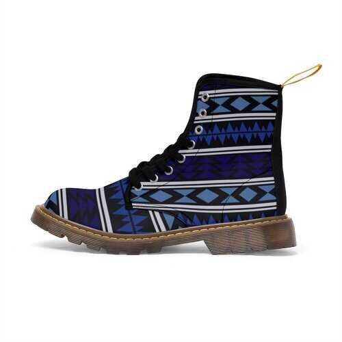 Womens Canvas Boots, Blue Aztec Style