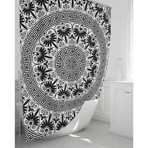 """Bath Accessories, Bohemian Style Black and White Shower Curtain 72""""x72"""""""