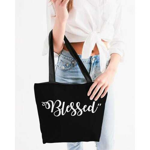 Canvas Tote Bags, Blessed Graphic Style Shoulder Bag