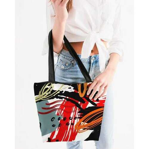 Canvas Tote Bags, Black Red Gray and White Abstract Style Shoulder Bag