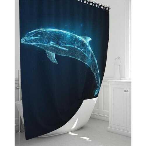 "Blue Dolphin Shower Curtain 72""x72"""