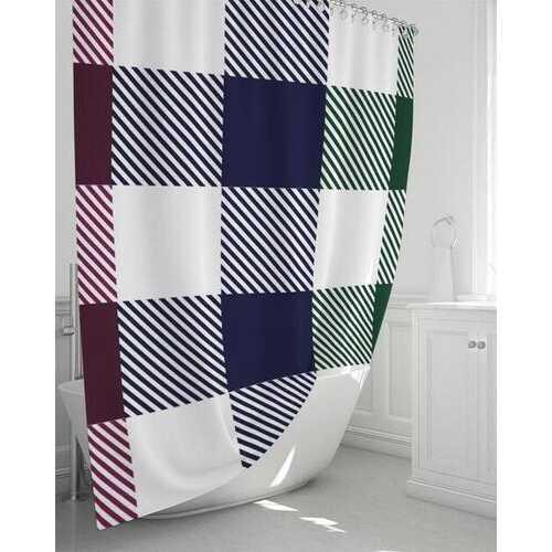 "Flannel Grid Stripes Shower Curtain 72""x72"""