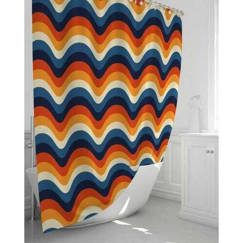 """Colorful Geometric Arch Stripes Shower Curtain 72""""x72"""""""