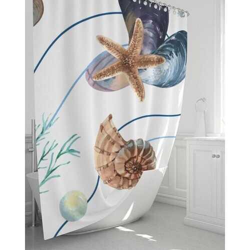 "Bath Accessories, Seashell Style Shower Curtain 72""x72"""