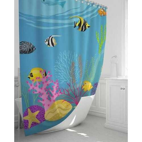 Blue Aquatic Fish Style Shower Curtain 72 in x 72 in