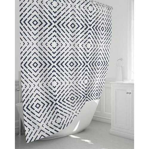 """Bath Accessories, Radiant Black and White Shower Curtain 72""""x72"""""""