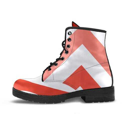 Red And White Herringbone Style Leather Boots