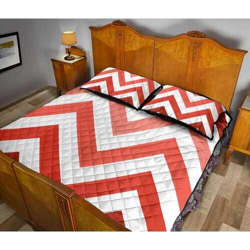 Bedding, Red and White Herringbone Style Quilt Bed Set