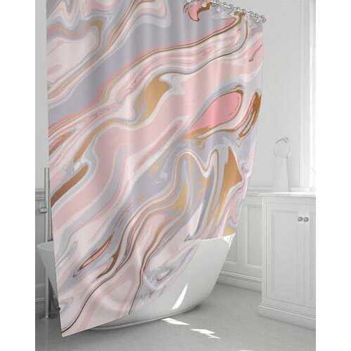 """Pink and White Marble Swirl Style Shower Curtain 72""""x72"""""""