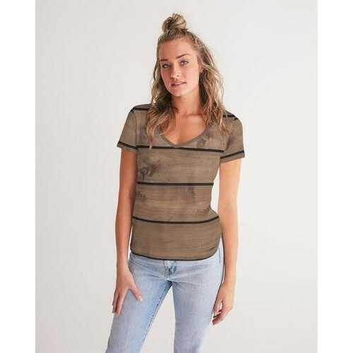 Womens Shirts, Brown Wood Plank Style Short Sleeve V-Neck Shirt