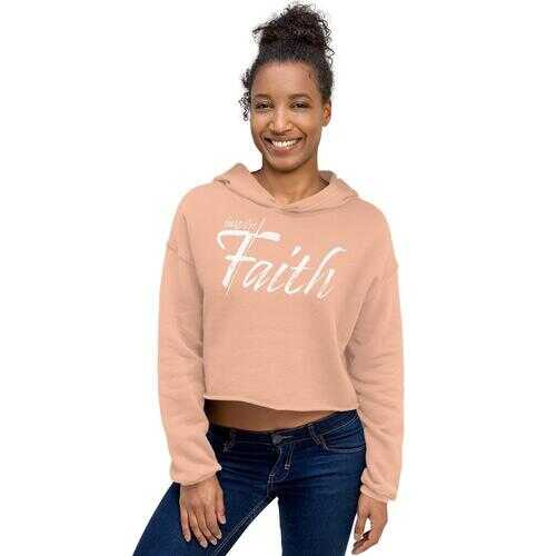 Crop Hoodie, Inspire Faith Graphic Text