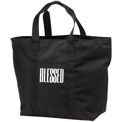 Unisex Tote Bag, Blessed Graphic Text Black Bag