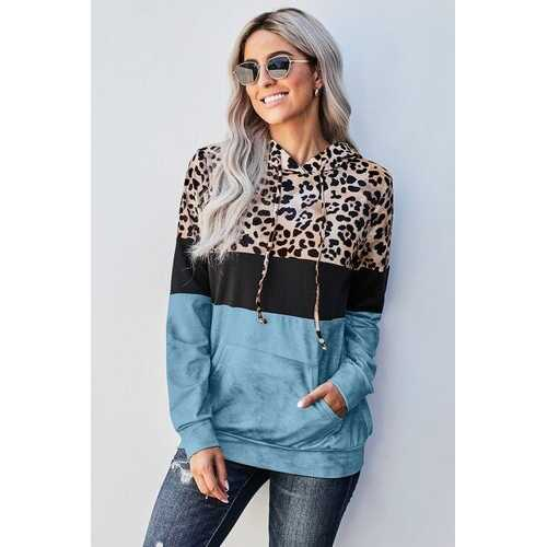 Womens Hoodies, Ocean Blue Leopard Print Colorblock Tye Dye Hooded Shirt