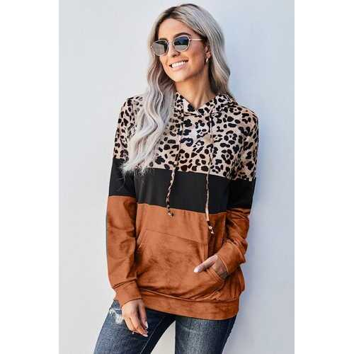 Womens Sweaters, Orange And Black Colorblock Leopard Style Hoodie