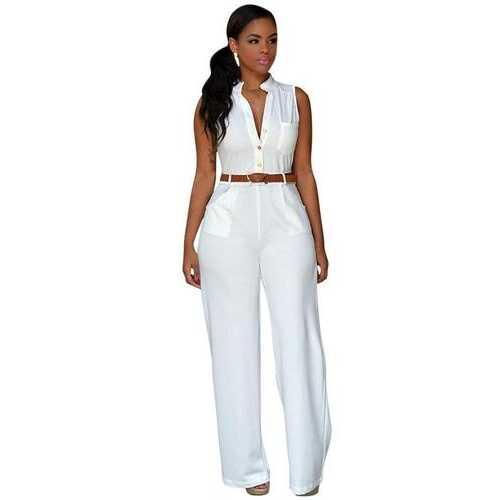 Womens Jumpsuits, White Notched Neck Buttoned Jumpsuit