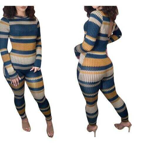 Womens Jumpsuits, Colorful Striped Knit Jumpsuit