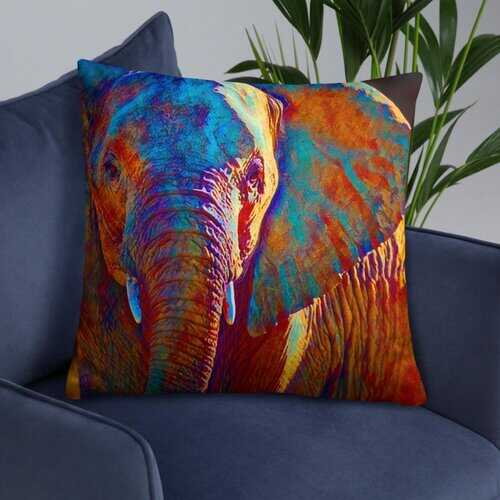 Accent Pillow, Colorful Elephant Print