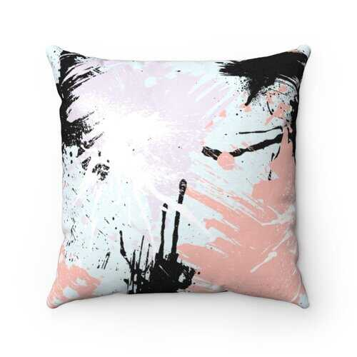 Accent Pillows, Abstract Paint Splatter Style Pillow