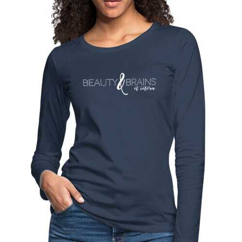 Womens Shirts, Beauty And Brains Et Cetera White Graphic Text Long Sleeve Tee