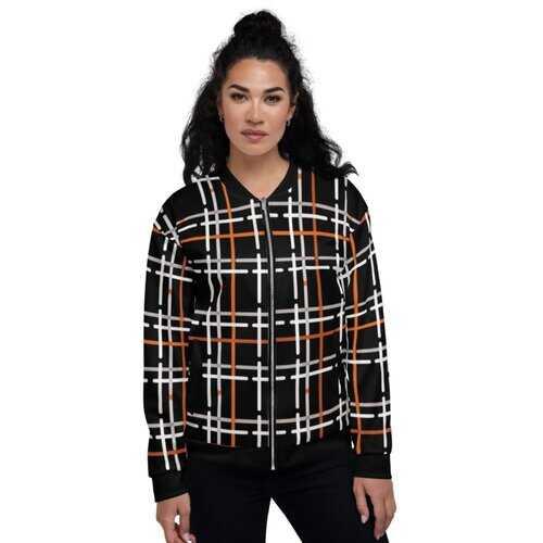 Womens Jackets, Black And Orange Tartan Style Bomber Jacket
