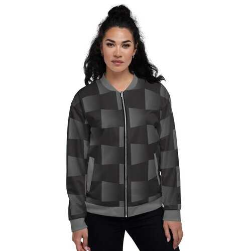 Womens Jackets, Black And Gray 3D Square Style Bomber Jacket