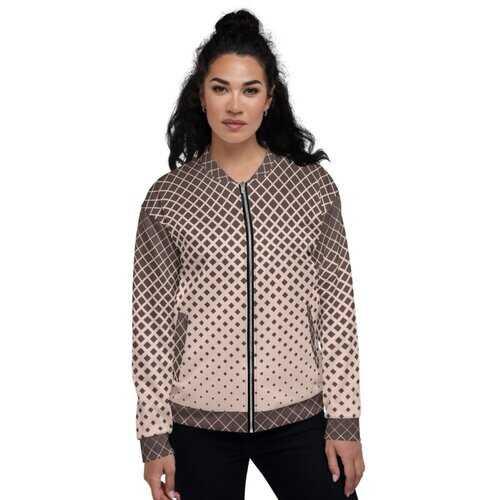 Womens Jackets, Burgundy Half-Tone Style Bomber Jacket