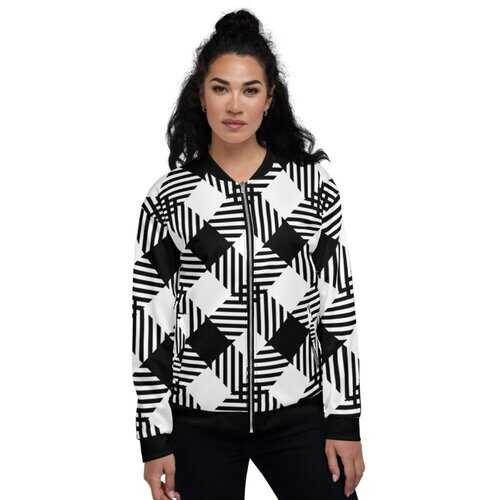 Womens Jackets, Black And White Cross-Hatch Style Bomber Jacket