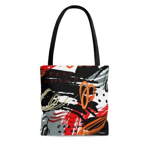 Canvas Tote Bags, Black Red Gray Abstract Style Shoulder Bag