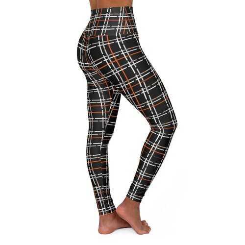 High Waisted Yoga Leggings, Black And Orange Tartan Style Pants