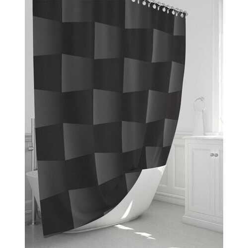 """Bath Accessories, 3D Square Style Black and Gray Shower Curtain 72""""x72"""""""