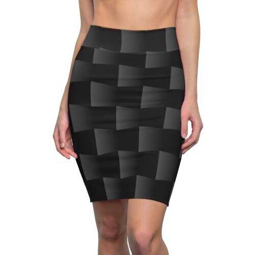 Womens Skirts, Black And Gray 3D Square Style Pencil Skirt