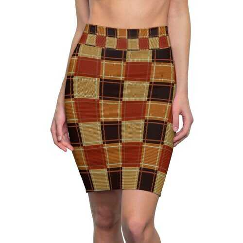 Womens Skirts, Brown Checker Board Style Pencil Skirt