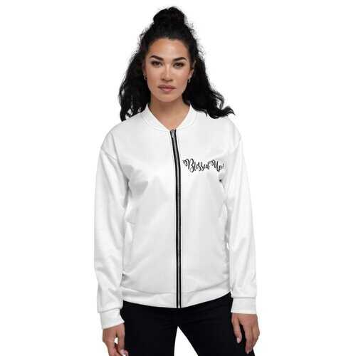 Womens Jackets, Blessed Up Graphic Text Bomber Jacket