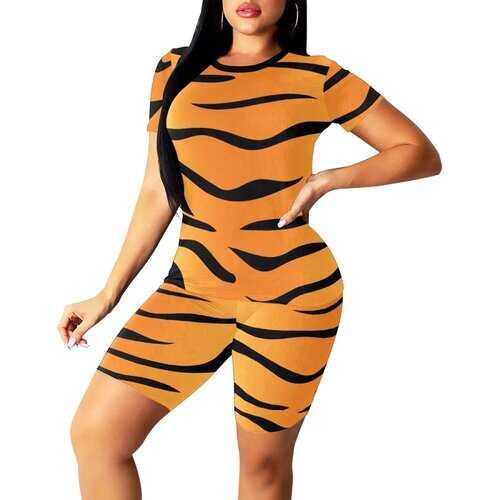 Womens Sportswear, Orange And Black Leopard Print Style Womens Short Yoga Set