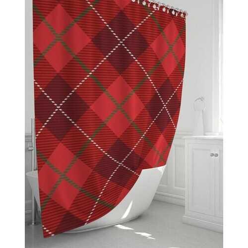 "Bath Accessories, Red Plaid Style Shower Curtain 72""x72"""