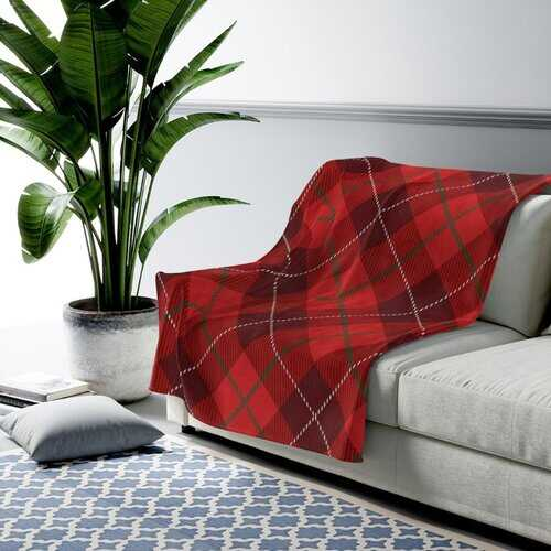 Accent Throw Blankets, Red Plaid Style Velveteen Plush Blanket