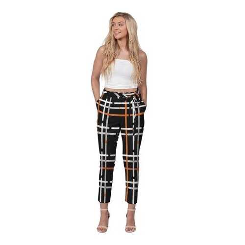 Black And Orange Tartan Style Womens Belted Tapered Pants