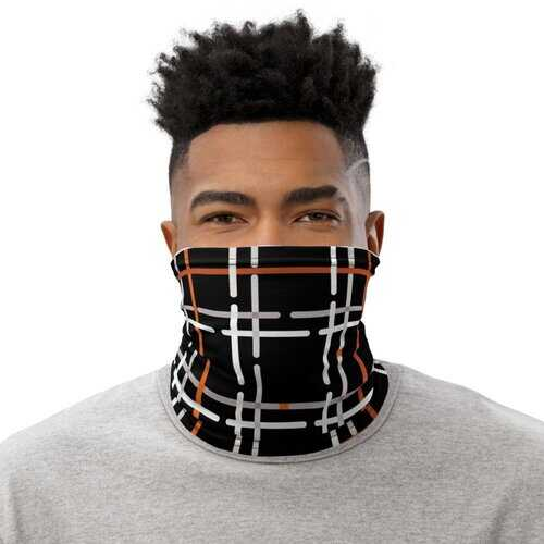 Neck Gaiters, Black and Orange Tartan Style Face Cover
