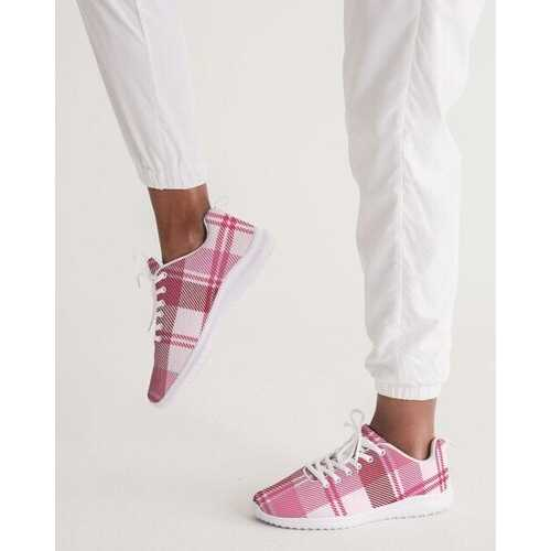 Pink And White Plaid Style  Womens Athletic Shoe