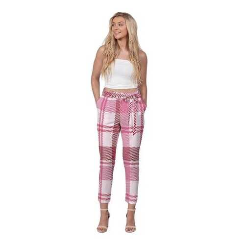 Womens Pants, Pink And White Plaid Style Belted Tapered Trouser Bottoms