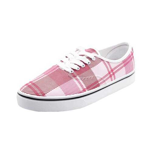 Athletic Shoes, Unisex Pink and White Plaid Style Low Cut Canvas Loafer Sneakers