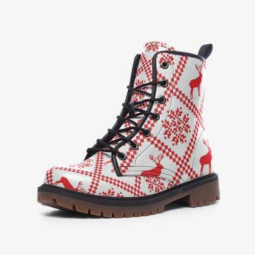 Leather Boots, Red And White Deer Style Martin Boots