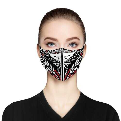 Black Red And White Cloth Face Mask Includes Two Pm2.5 Filters