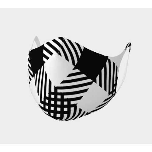 Black And White Plaid Style Face Mask Double Knit Face Covering