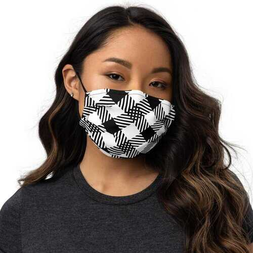 Masks, Black And White Plaid Style Face Covering