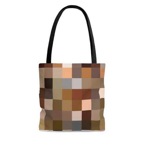 Canvas Tote Bags, Multicolor Brown Block Style Bag